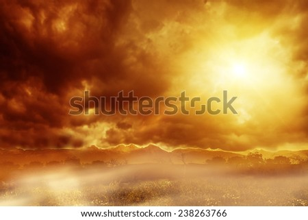End of the days view of a scary apocalyptic scene - stock photo