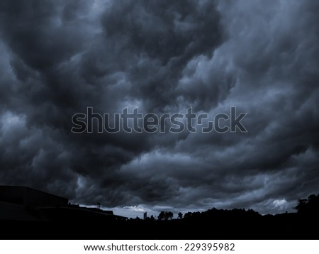 End of the world view of an apocalyptic gigantic storm.(Amargeddon) - stock photo
