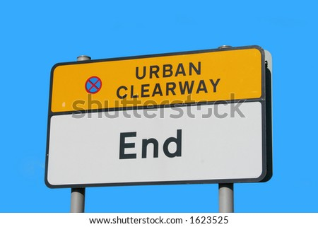 End of urban clearway sign - stock photo