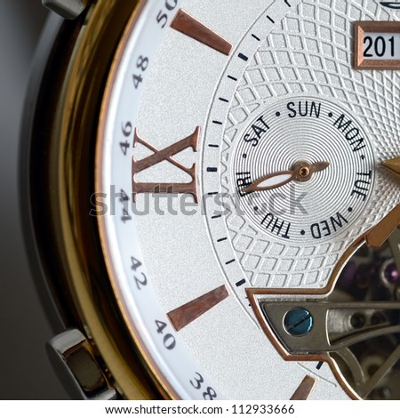 End of week. Friday. Detail of the luxury clock - stock photo
