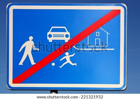 End residential zones traffic sign  - stock photo