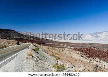 Endless highway in Death Valley National Park, USA - stock photo