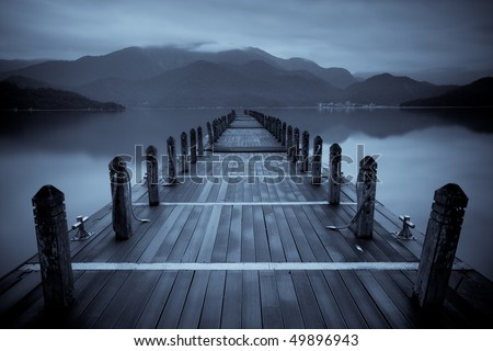 Endless mist lake - stock photo