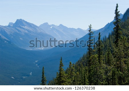 Endless mountain range in Banff National park, Canada