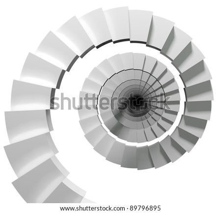 Endless stair isolated on white background, 3d. - stock photo