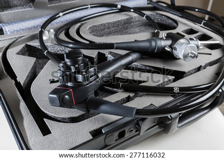 endoscope in the suitcase - stock photo