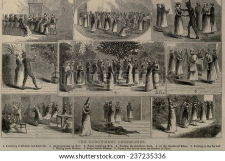 Endowment ceremonies were influenced by Masonic rituals to which Mormon prophet Joseph Smith was exposed in 1842, 1876 book illustration. - stock photo