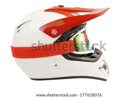 Enduro motorcycle helmet with goggles - stock photo