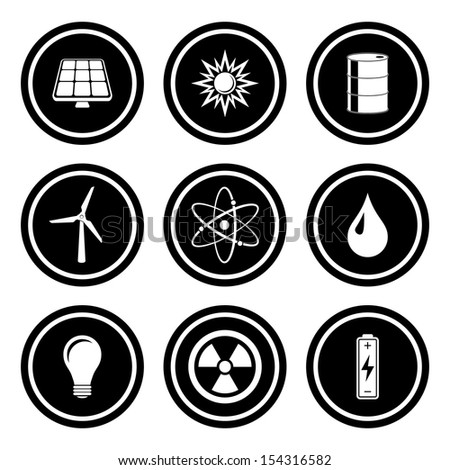 Energy and Industrial Icon Set.  Raster version. - stock photo