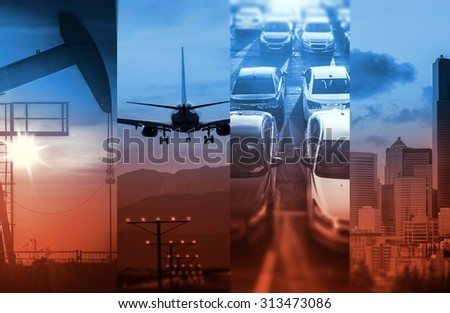 Energy and Transportation In a Strong Global Economy. Rising Energy Consumption. Concept Photo Collage. - stock photo