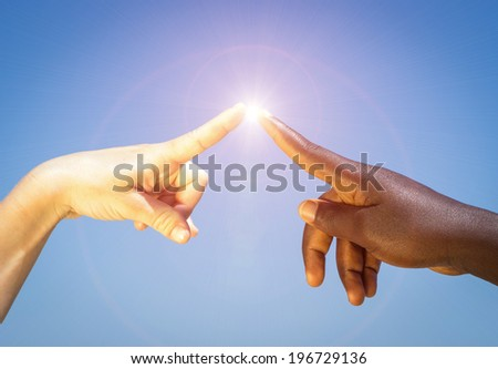 energy between fingers. concept about peace and humanity - stock photo
