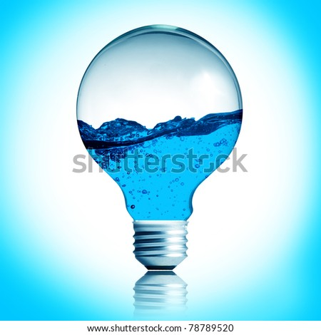 Energy concept. Light bulb with water in side isolated on white