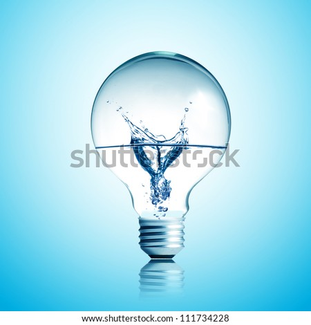 Energy concept. Light bulb with water splash inside