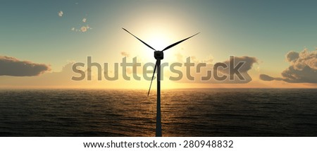 energy concept, sunset and wind turbine