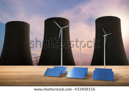 energy concept with 3d rendering solar cells, wind turbines and nuclear reactors - stock photo