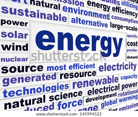 Energy creative words design. Power technology industrial poster