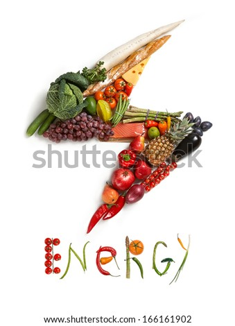 Energy diet / healthy food symbol represented by foods in the shape of flash to show the health concept of eating well with fruits and vegetables  - stock photo