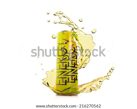 Energy Drink with Splash - stock photo