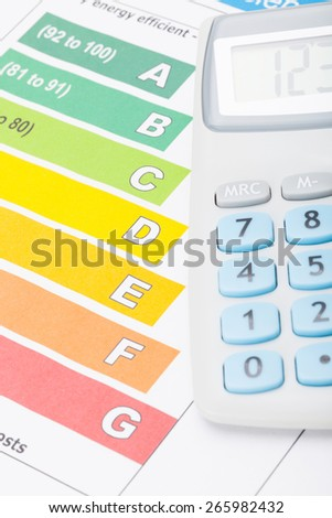 Energy efficiency chart and calculator - stock photo