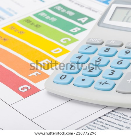 Energy efficiency chart and calculator - 1 to 1 ratio - stock photo