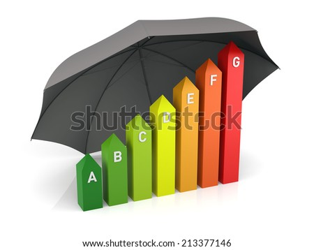 Energy Efficiency Chart with Insurance. 3D Rendering - stock photo
