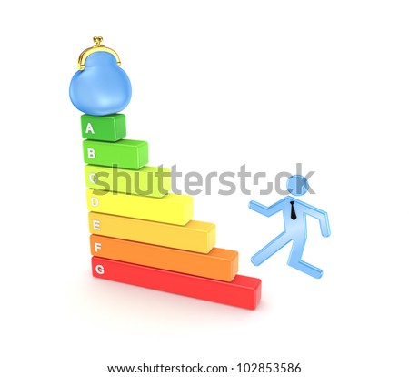 Energy efficiency concept.Isolated on white background.3d rendered. - stock photo