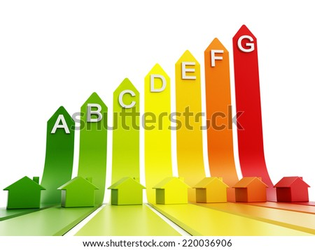 Energy efficiency levels with small plastic houses. - stock photo