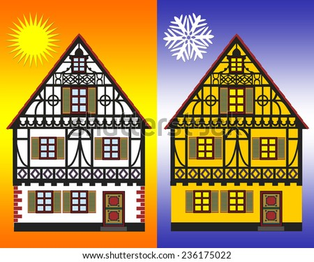 Energy Efficiency Measures. Concept sign for energy efficiency improvements of homes in winter and summer - stock photo