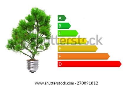 Energy efficiency rating and green lightbulb concept isolated over white  - stock photo