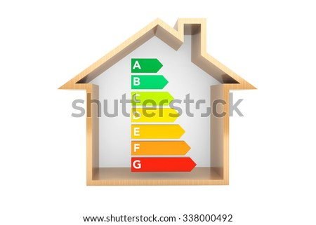 Energy Efficiency Rating Charts with House on a white background  - stock photo