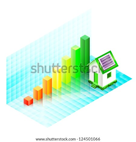 Energy efficiency rating of a house with photovoltaic panels. Ecological concept. Raster version of the vector image