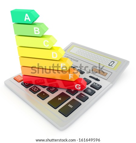 Energy efficiency rating on calculator - stock photo