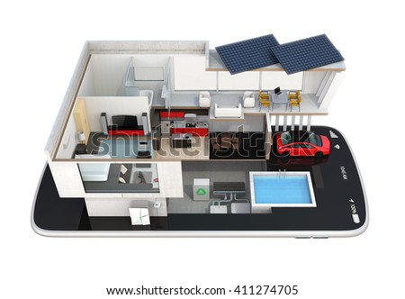 Energyefficient house equipped solar panels energy stock illustration 411274705 shutterstock - Home automation energy saving ...
