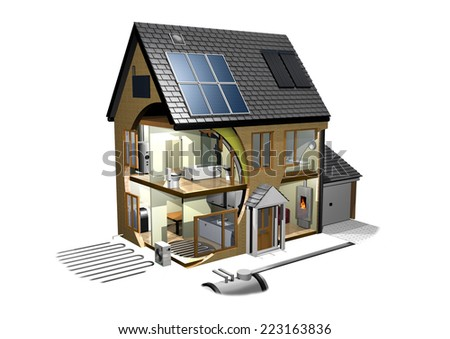 Energy Efficient House left - stock photo