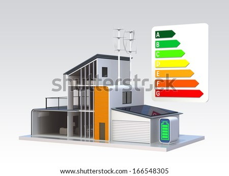 Energy Efficient House Support By Solar Stock Illustration 166548305 ...