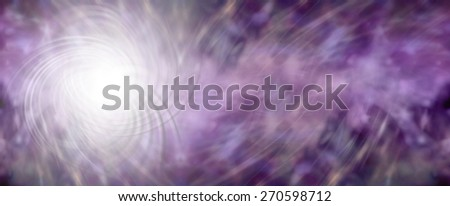 Energy Field banner - wide purple banner with an intricate white energy formation on left side and wispy purple light tracks flowing away to right hand side providing plenty of copy space - stock photo