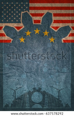 Energy generation and heavy industry. Brochure, report or cover design template. Molecule And Communication Concrete Textured Background. Connected lines with dots. USA and Europe flags on backdrop