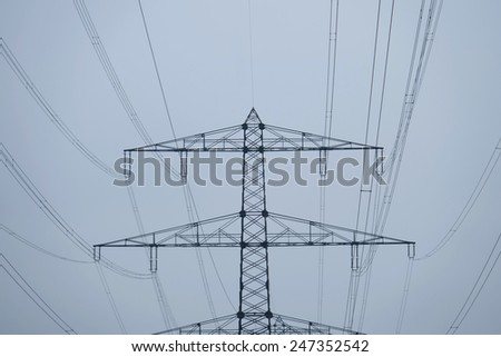 energy - high voltage power line - stock photo