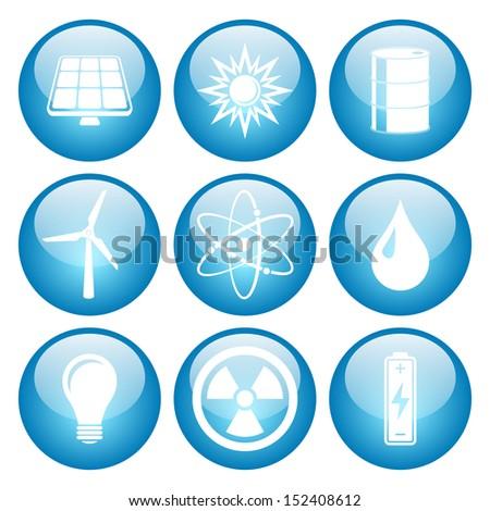 Energy Icon Set with Glass Button Icons  Raster version. - stock photo