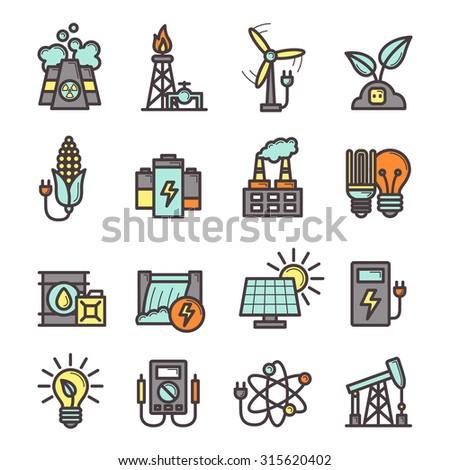 Energy manufacturing icons set with plug bulb pylon nuclear station isolated  illustration - stock photo