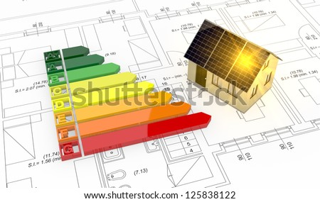 energy performance scale with a house and plan (3d render) - stock photo