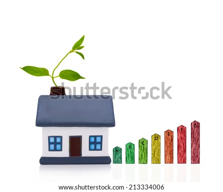 energy performance scale with a house,  energy efficiency in the home - stock photo