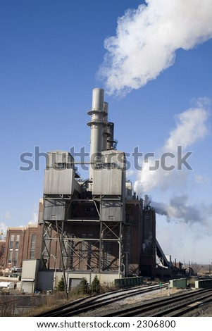 Energy plant along railroad tracks burns coal to produce energy for the city of Indianapolis.