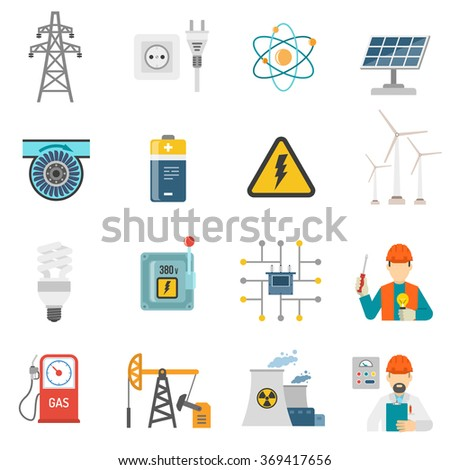 Energy power flat icons set - stock photo