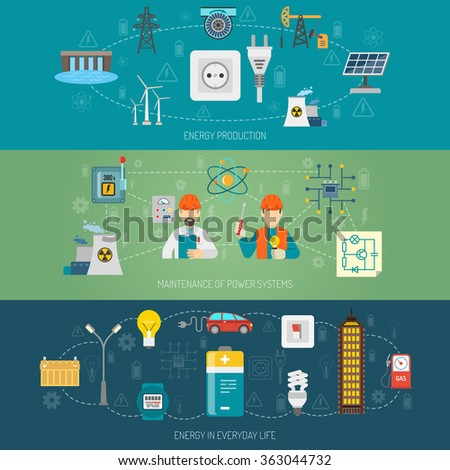 Energy power systems flat banners set - stock photo
