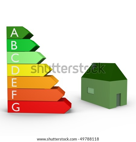 Energy rankings with a house- a 3d image - stock photo