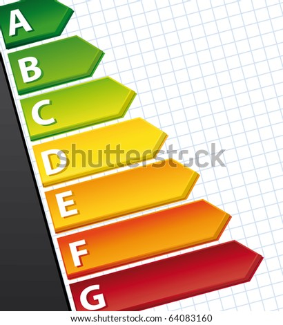 Energy rating Graph on a document. Illustration.