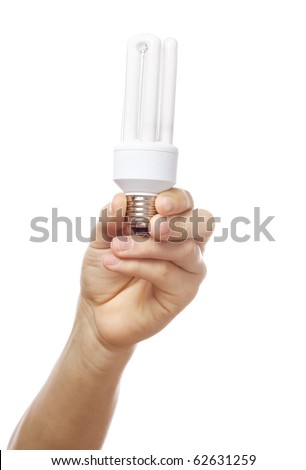 energy save bulb and hands - stock photo