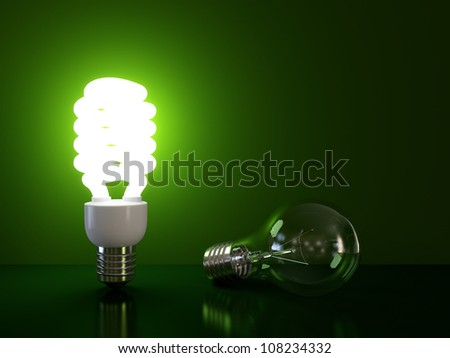 Energy saving and simple light bulb isolated on green background. - stock photo