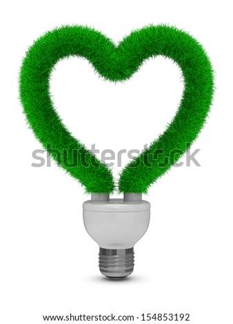 energy saving bulb on white background. Isolated 3D image - stock photo